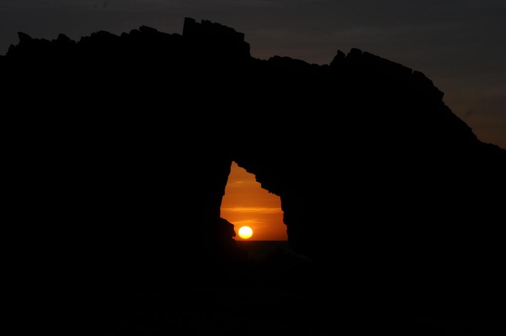 Por do sol na Pedra Furada